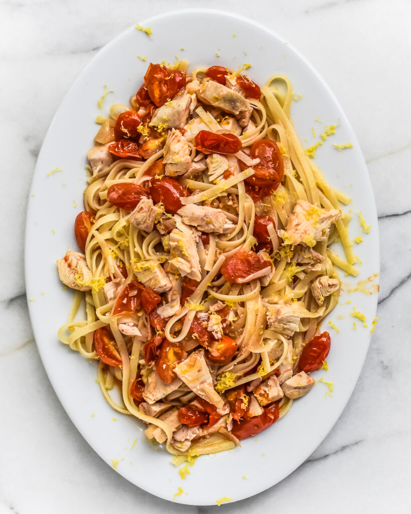 Linguine with Roasted Chicken, Tomatoes and Garlic Oil