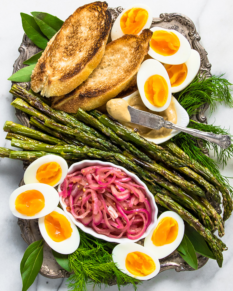 Broiled Asparagus with Pickled Red Onions and Soft Boiled Eggs