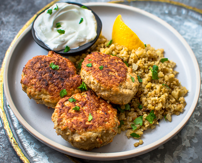 Sheet Pan Mediterranean Turkey Patties with Spiced Cauliflower Rice