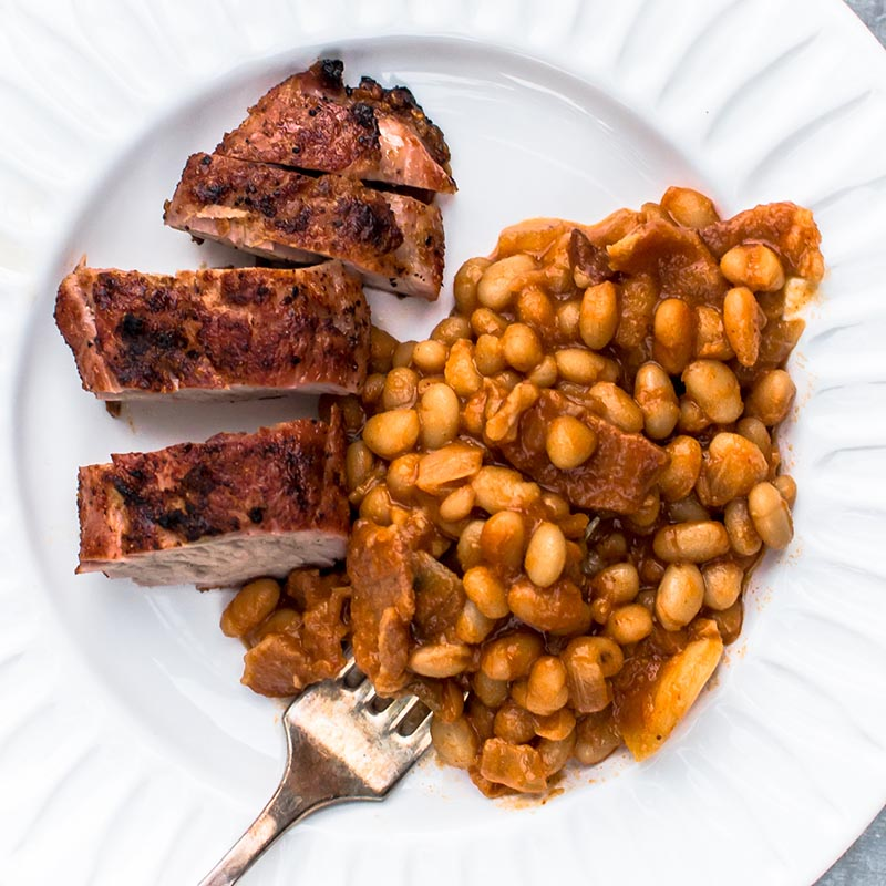 Grilled Old Bay Pork Tenderloin and Grilled Baked Beans