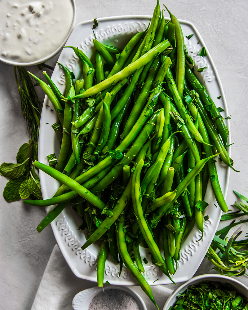 Chilled Haricot Verts with Shallot Crème Fraiche