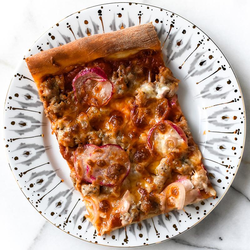 Roasted Radish and Sausage Pizza