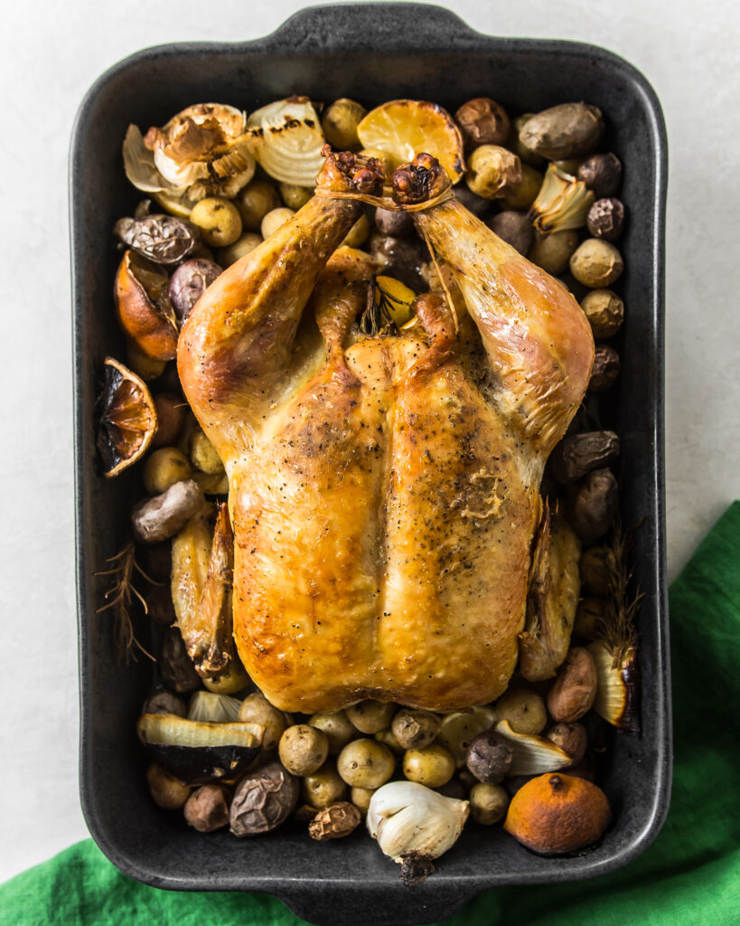 Lemon-Bacon Roasted Chicken and Potatoes