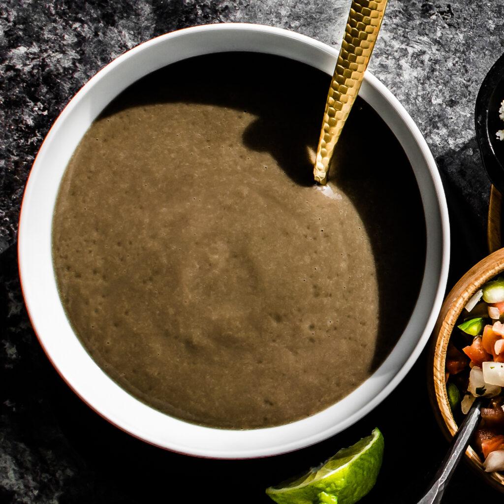Blended Black Bean Soup with Pico de Gallo