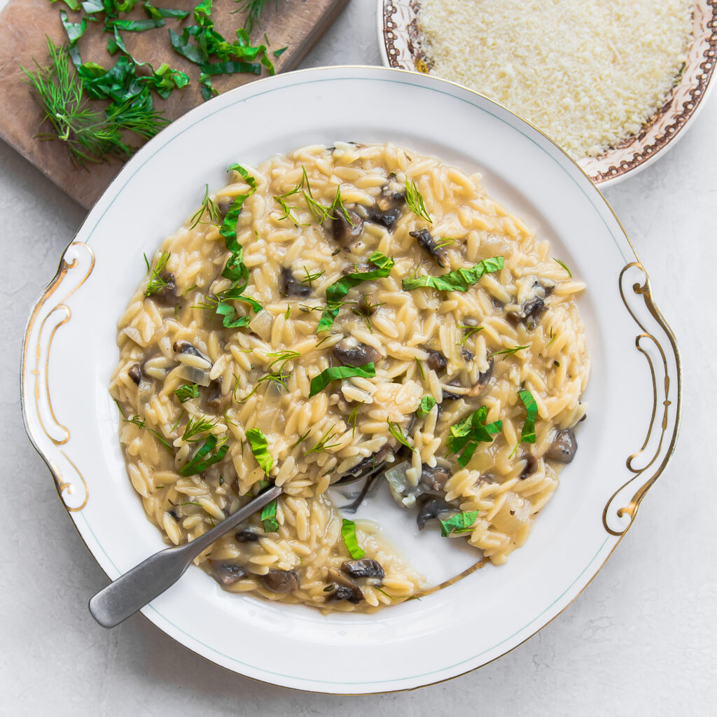 Herbed Orzo Risotto with Wild Mushrooms