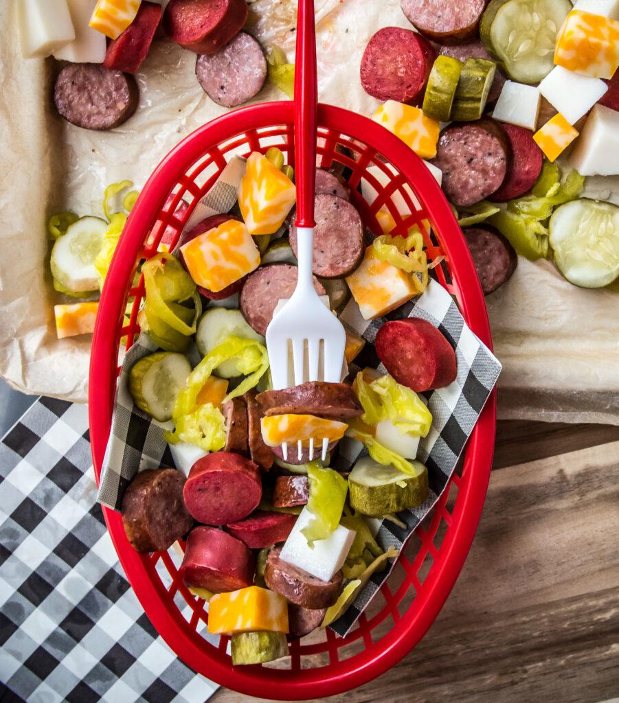 Sausage, Cheddar and Pickle Platter