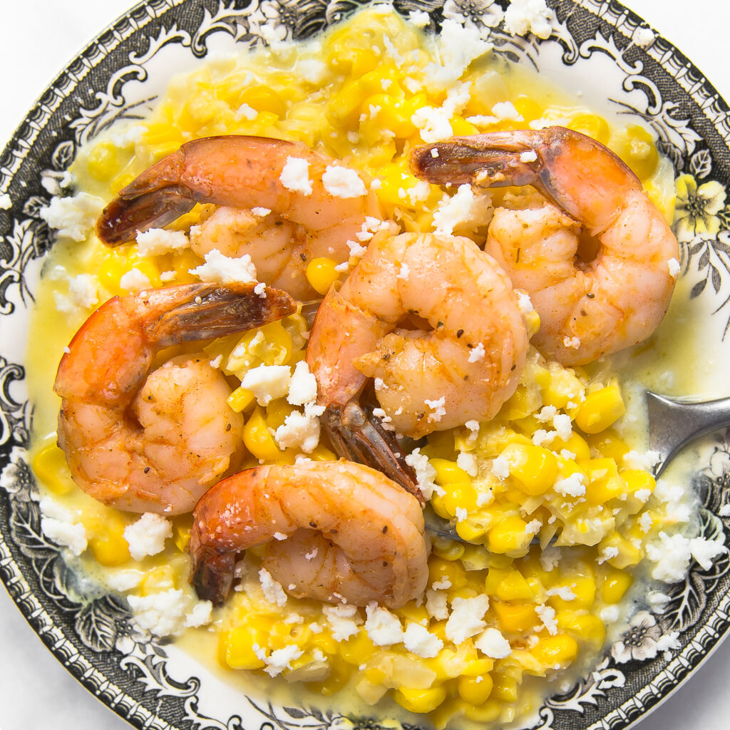 Creamed Corn with Old Bay Shrimp